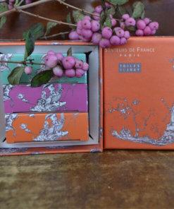 Savonnettes parfumées coffret Toile de Jouy orange
