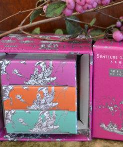 Savonnettes parfumées coffret Toile de Jouy rose