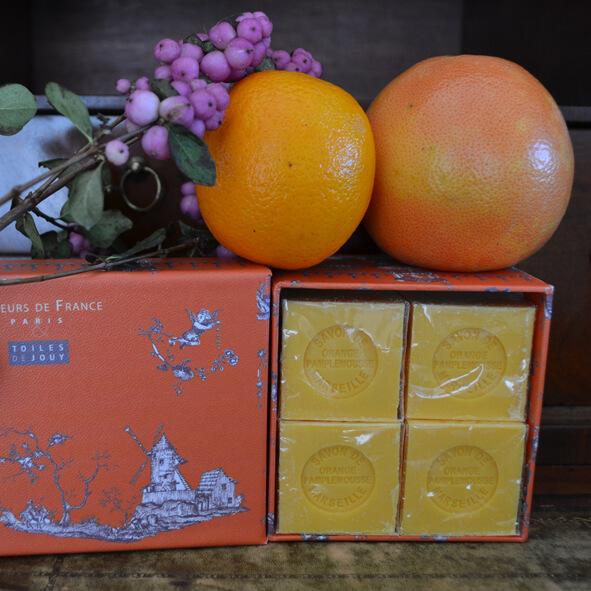 Coffret savons orange pamplemousse et muguet