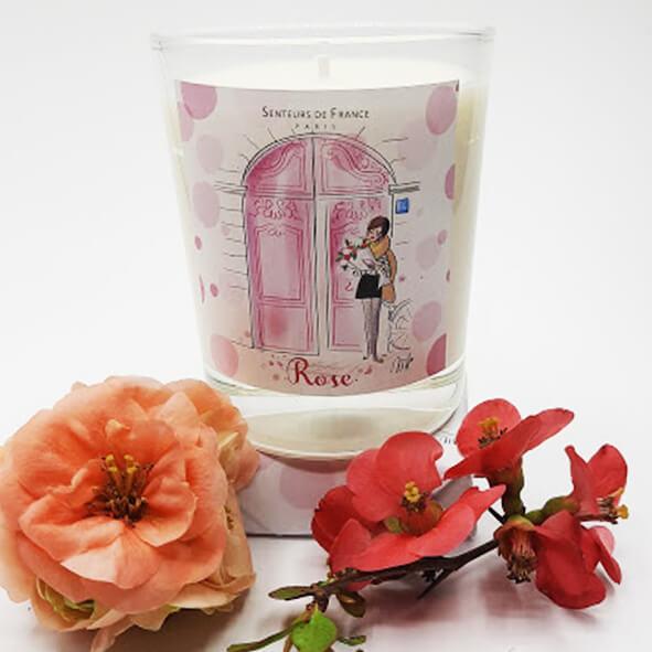 bougie cire végétale parfum de Grasse rose thème Paris