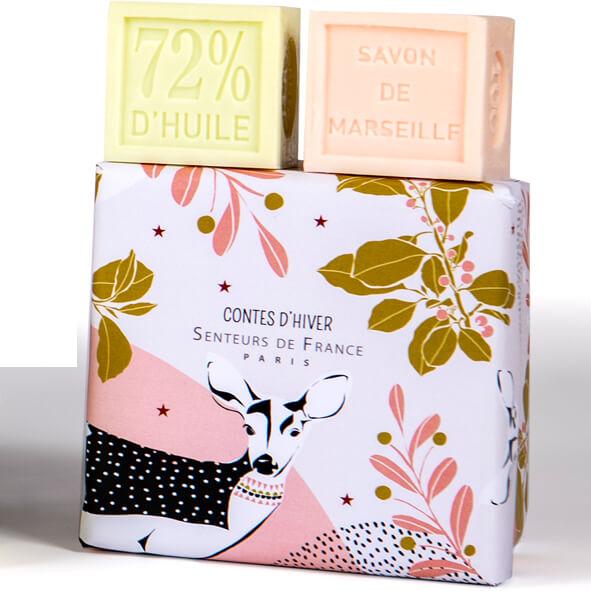 cubes savons Marseille lait d'anesse et rose design faon