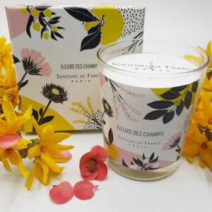 bougie parfum de Grasse fleurs des champs dans coffret Senteurs de France fleuri
