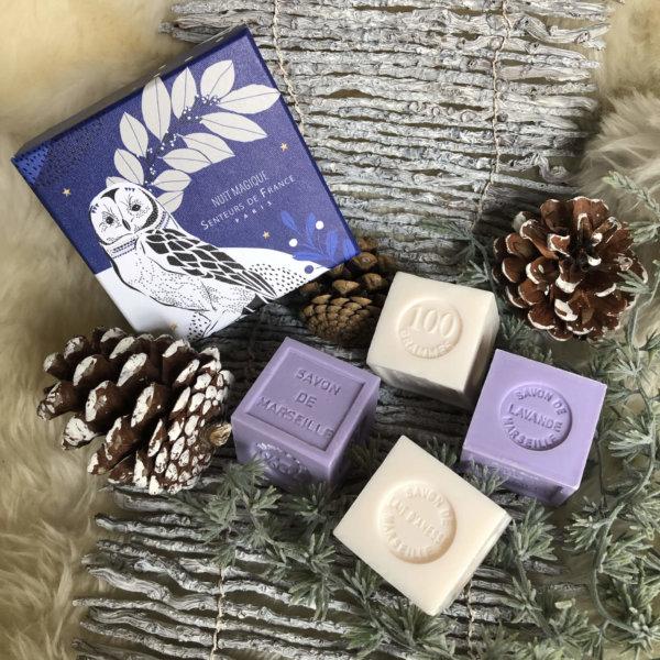 savons cubes parfum de Grasse lavande jasmin dans coffret Senteurs de France hibou