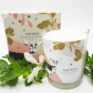 bougie parfumée herbe fraîche dans coffret faon parfum de Grasse note vert et musque